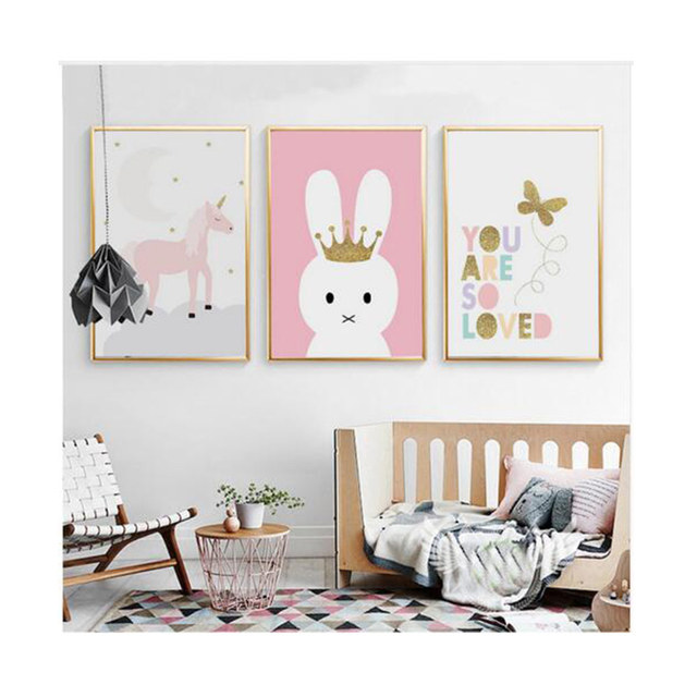 Cartoon Unicorn Erfly Canvas Paintings Nursery Wall Art Posters And Prints Nordic Pictures For Kids Room