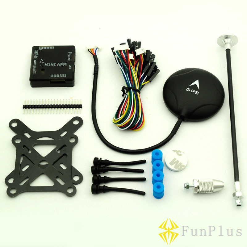 FPV New Mini APM V3.1 Flight Controller NEO-M8N GPS + Shock Absorber + GPS Stand BK Remote Controller Helicopter Airplanes flight est11 bk