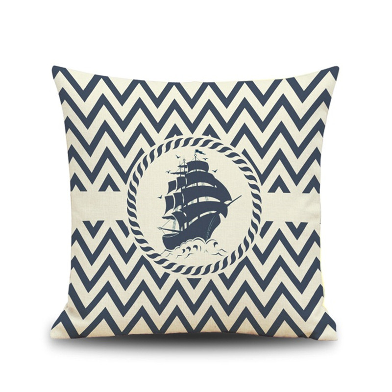 Ocean sea naval sailing ship anchor series boat pillowcase cushion Cover Car chair sofa office Home Decoration for gift Cojines