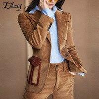 Ellacey 2018 Coffee Corduroy Suit Female Women's Business Pant Suits Stylish Blazer Uniform Women Formal Fashion 2 Pieces Set