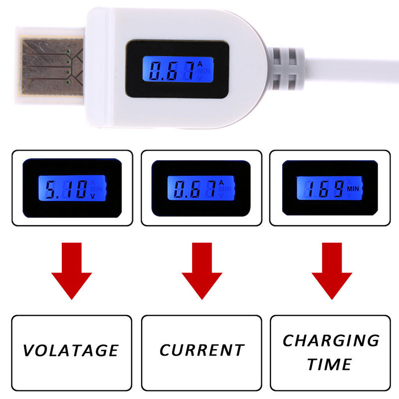Hot <font><b>LCD</b></font> Digital Indicator Micro USB Data Sync Charging Voltage Charge <font><b>Time</b></font> cable image