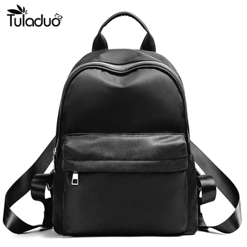 Women Nylon Backpack Solid Casual Waterproof Female School Bags For Teenagers With Solid Pocket New Style Girls Boys Bags new style school bags for boys
