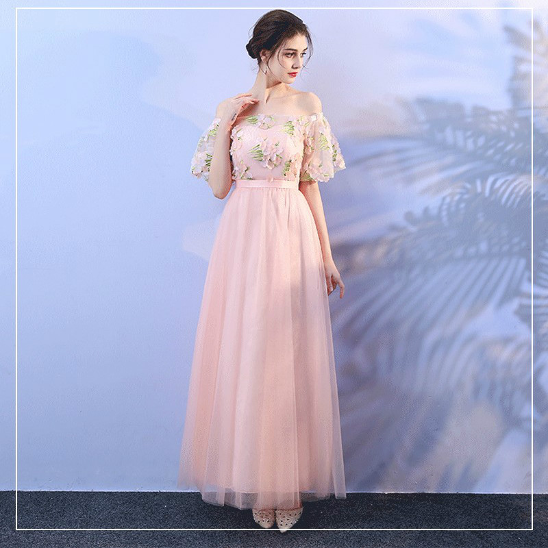 Pink Empire Long Dress  Bridesmaid Dresses  Wedding Party Dresses For Sexy Women Back Of Bandage