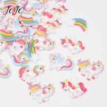 JOJO BOWS 10pcs DIY Craft Supplies Unicorn Glitter Planar Resin Accessories For Crafts Phone Case Stickers Headwear Decoration цена