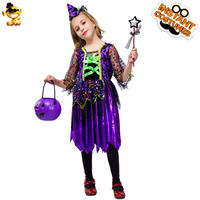 DSPLAY Girls Purple Witch Costume Girls Fashion Elegant Witch Fancy Dress Costumes For Halloween Christmas Carnival Party