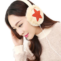 Plush Female Winter Earmuff Warm Ear Muffs Headphones Girls Star Earmuffs Music Earphones Ear Protector Fur