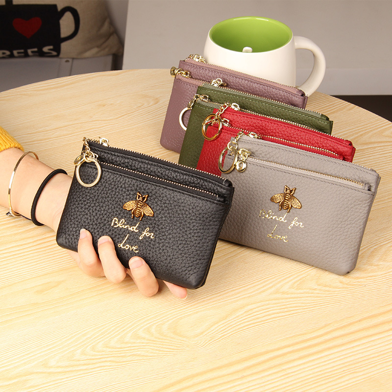 Andralyn Brand Genuine Leather Coin Purse Women Mini Change Purses Kids Coin Pocket Wallets Key Chain Holder Zipper Pouch