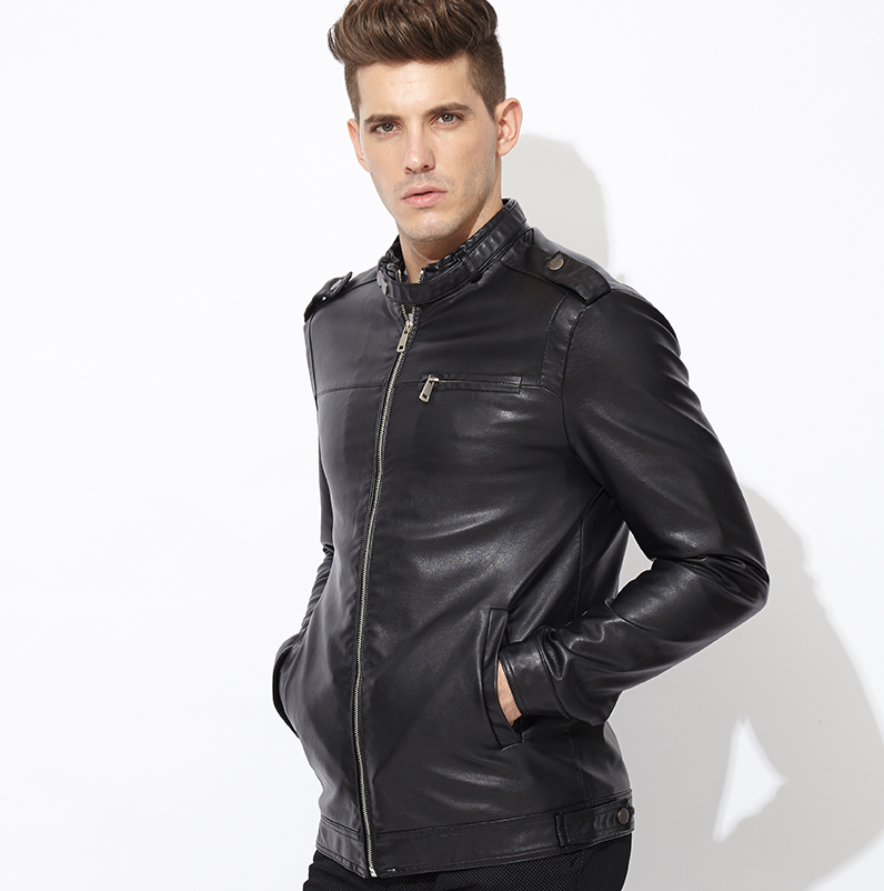 Popular Mens Black Leather Bomber Jacket-Buy Cheap Mens Black