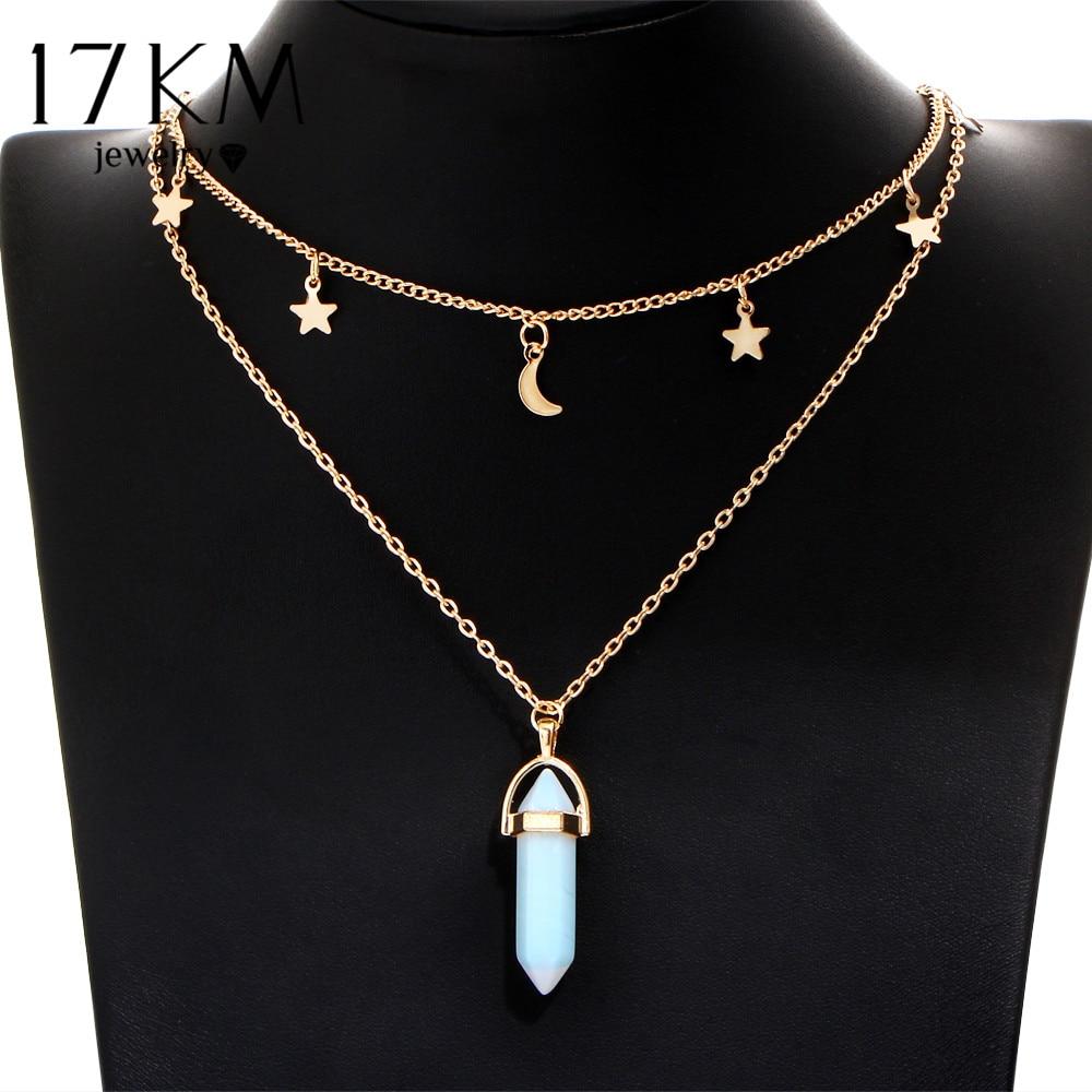 17KM 6 Colors Big Stone Beads Moon & Star Pendant Tattoo Choker Necklace for Women Geometric Bohemian Chain Boho Gothic Jewelry