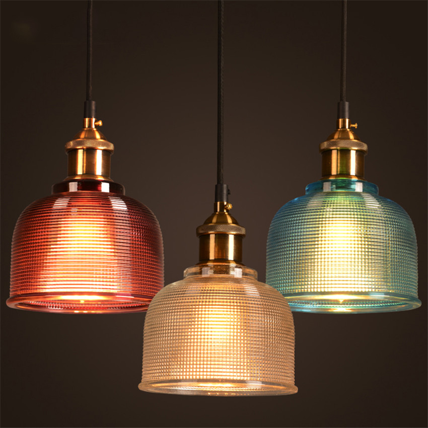 Vintage Gl Pendant Light Clear Color Blue Red Amber Lamps With Bulbs 110v 220v Edison Hanging Lights