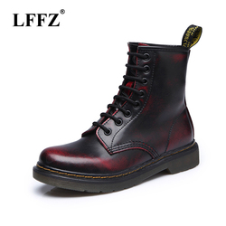2018 Top quality Leather Women Boots Dr Martin boots shoes High Top Motorcycle Autumn Winter shoes woman snow Boots ST50