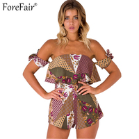 ForeFair 2017 Summer Boho Print Strapless Sexy Bodysuit Back Zipper Bow Casual Beach Rompers Womens Jumpsuit