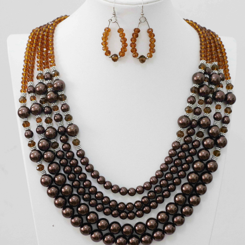 5rows crystal glass abacus faceted round shell coffee faux pearl beads earrings necklace for women weddings jewelry set B983-5
