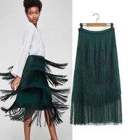 2018 Spring New Pattern European Wind Solid Color Tassels High Waist Bag Buttocks Half body Skirt