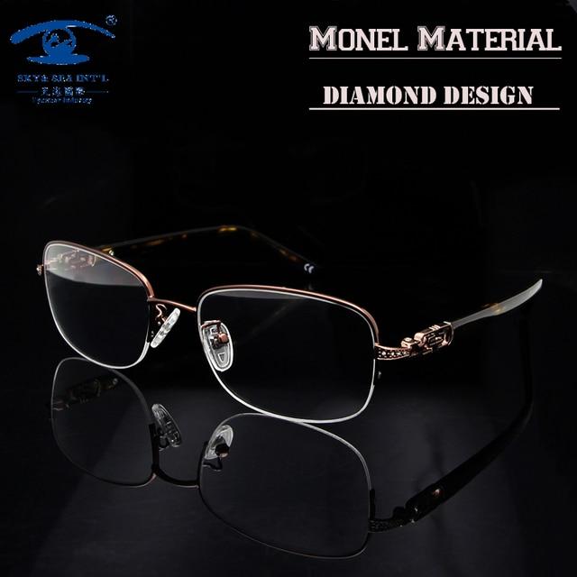 New Monel Material Diamond Eyewear Frames Women Half Rim Women's Prescription Eyewear Frames in Optical Lens