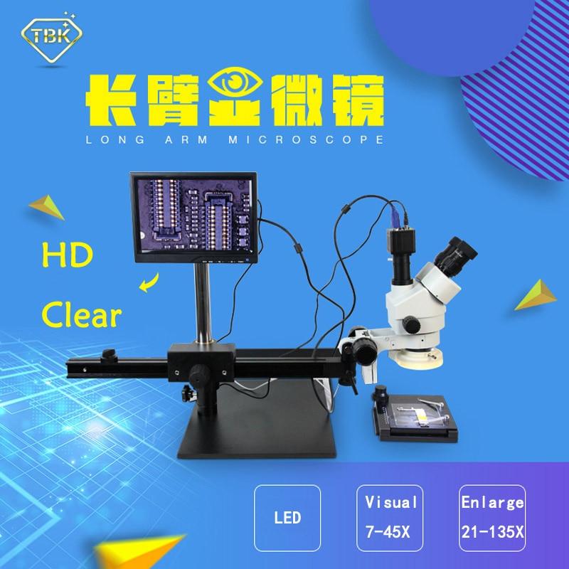 BGA mikroskoop Parim multifunktsionaalne pika käsivarrega liikuv elektrooniline ekraan 7-45x suum Protsessori hooldusriistad TBK 45L
