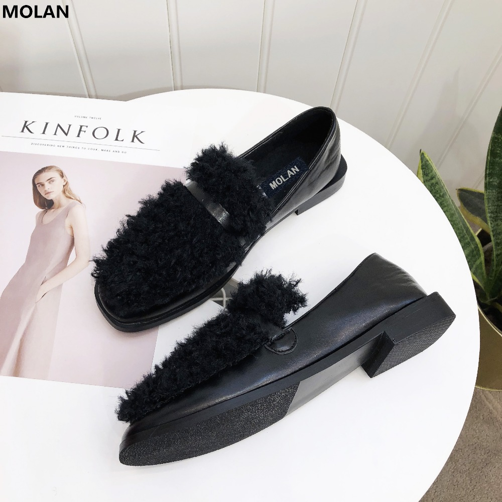 MOLAN Brand Designers 2018 New Fashion Sweet Wool Hair High Quality Square Toe Woman Flats Leather Shoe Med Heel Slip On Loafers