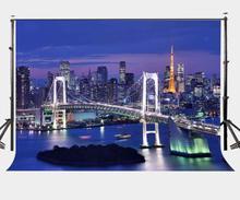 150x220cm Beautiful City Night View Backdrop Modern Viaduct Bridge Tokyo Tower Photography Background