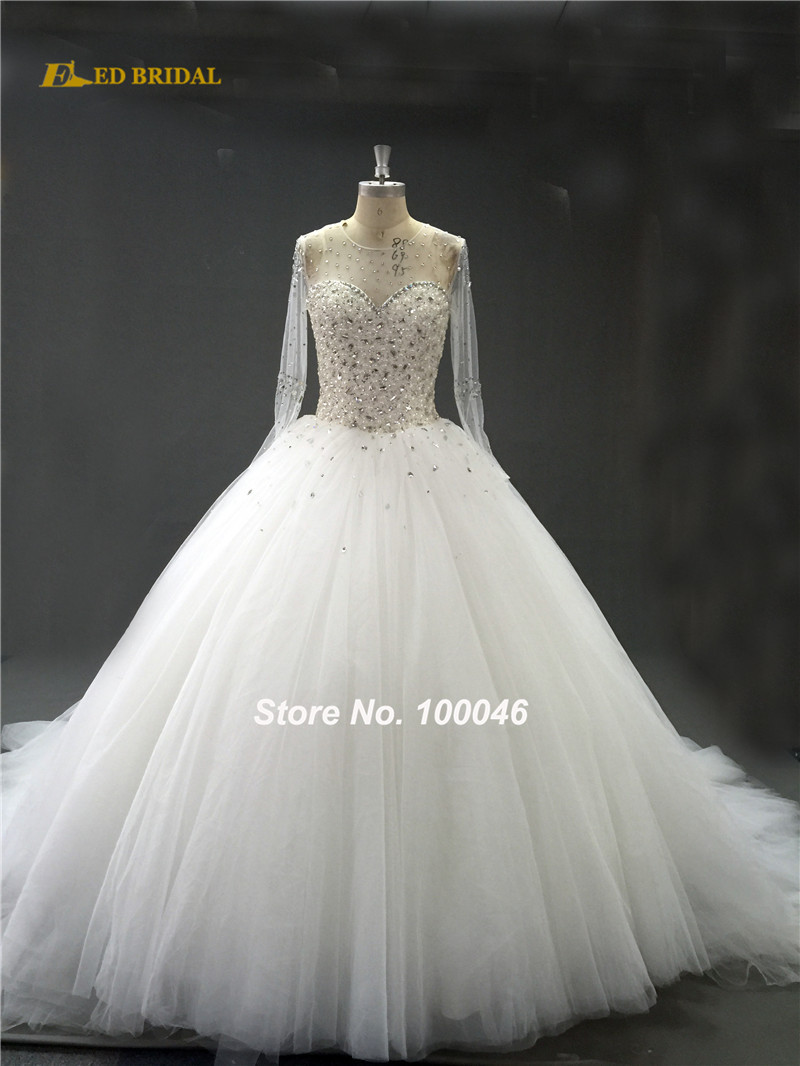 Wedding Dress 2017 Best Ing See Through Long Sleeve Heavy Beaded Gown Princess Ball Robe De Mariage Ca91 In Dresses From Weddings