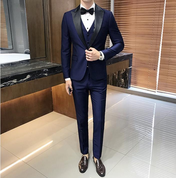 Custom Made 2018 New Hot Men Suits Slim Tuxedo Business Dress Suits XS 5XL (Jacket+Pant+Vest+Tie)