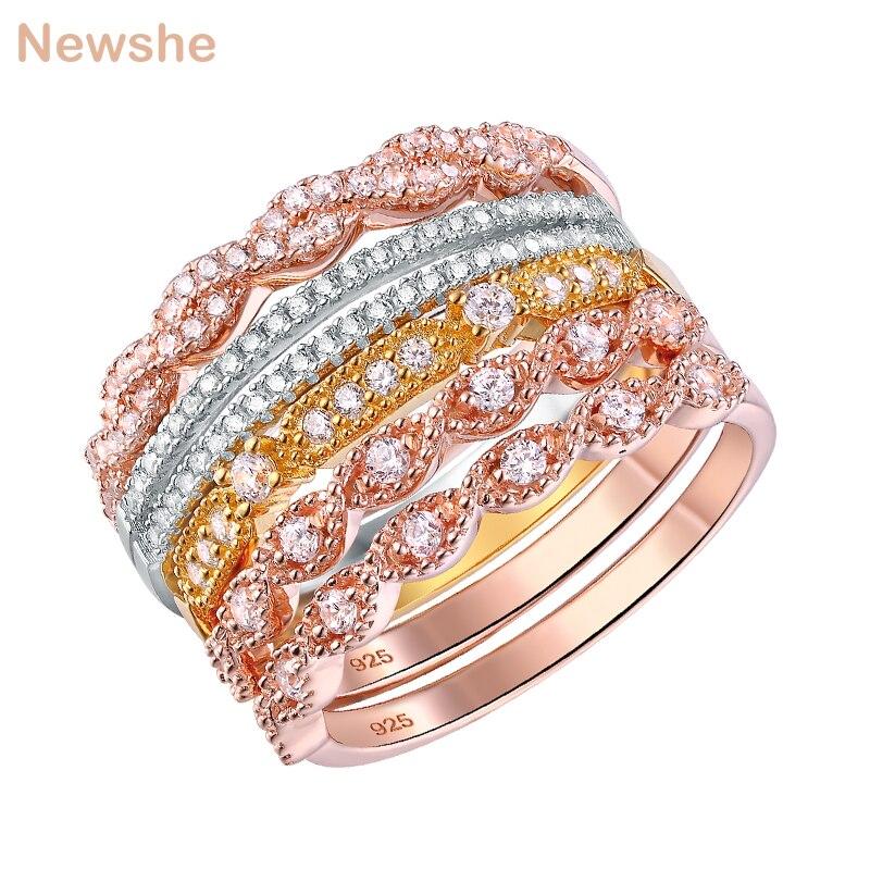 Newshe anneaux de mariage pour les femmes 925 en argent Sterling doré Rose or couleur vague anneau ensemble de fiançailles bande bijoux à la mode BR0601
