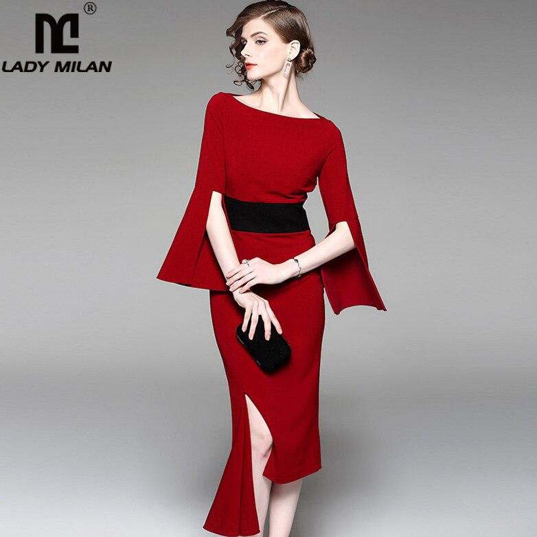 New Arrival Autumn Women s O Neck Flare Sleeves Patchwork Sexy Split Asymmetric Elegant Fashion Desinger