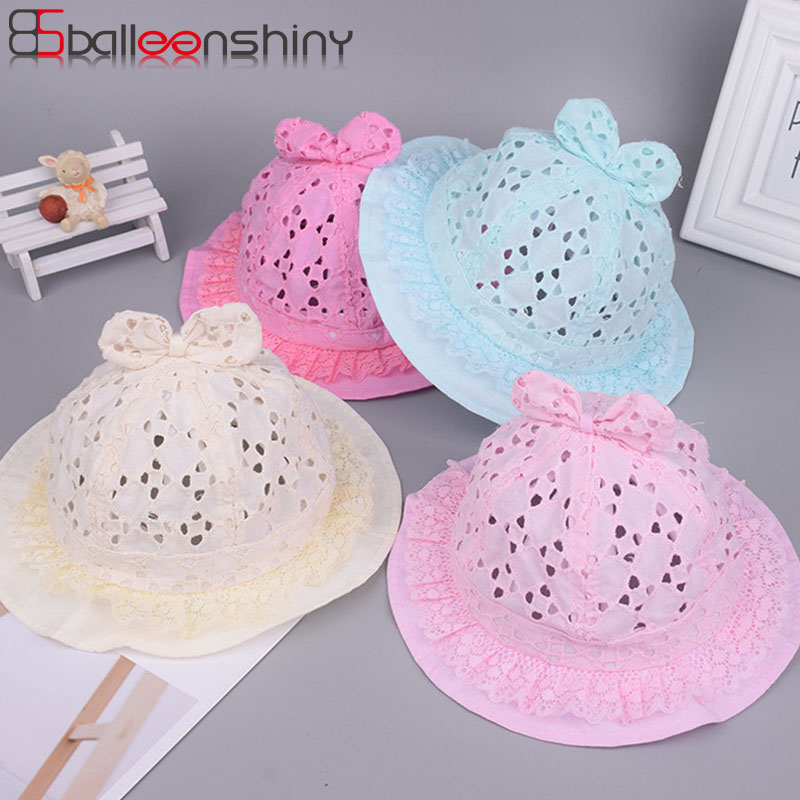 ac3ee8eb1fd BalleenShiny Hollow Bowknot Baby Girls Caps Cotton Sun Hat Baby Bucket Hats  Lace New Style Spring Summer Baby Girls Accessories