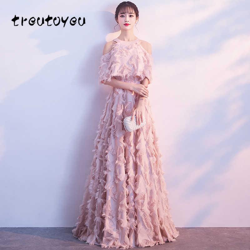 Treutoyeu 2018 robe longue femmes vêtements d'été solide rose robes de mode soirée licou cheville longueur robes D048