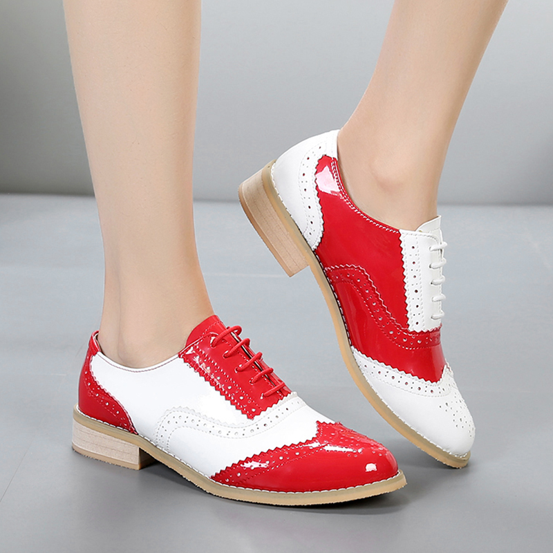2019 women oxford shoes genuine leather flats round toe handmade flat shoes red lace up vintage