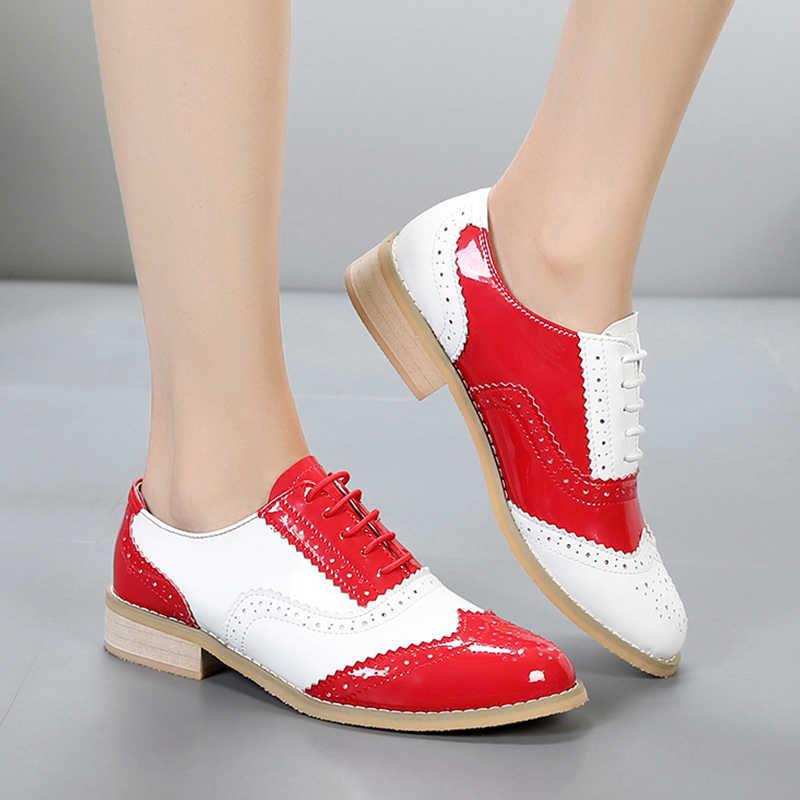 2019 phụ nữ Oxford da thật da đế bằng mũi tròn tay Flat đỏ phối ren Vintage Giày Oxford dành cho nữ với bộ lông
