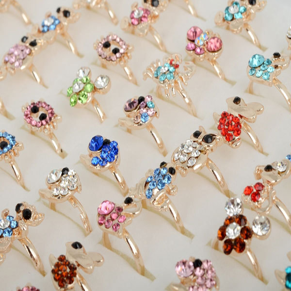 Wholesale Mix Lot 10pcs Cartoon Crystal Rings for Kids Girl Boy