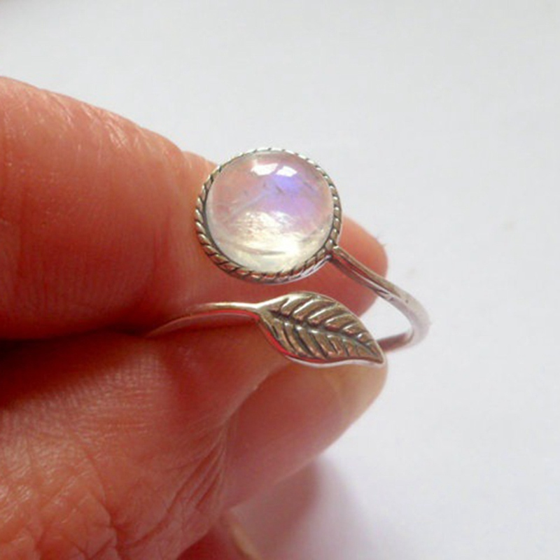 New Style Hand Jewelry Natural Leaves Moonstone Vintage Rings for girls best gift