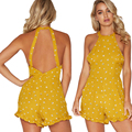 Yellow Print Halter Backless Short Jumpsuit Sexy Off Shoulder Sleeveless Back Hollow Out Combinaison Femme Overalls Playsuit
