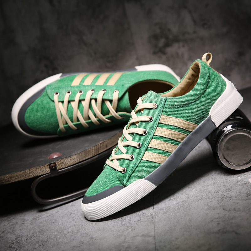 Shoes Men Sneakers Skateboarding-Shoes Green Breathable Classics Flats Canvas Lace-Up title=