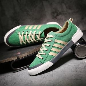 Image 1 - 2018 New Classics Skateboarding Shoes Men luxury shoes men Sneakers Soft Breathable Lace Up green Sport Shoes Men canvas flats