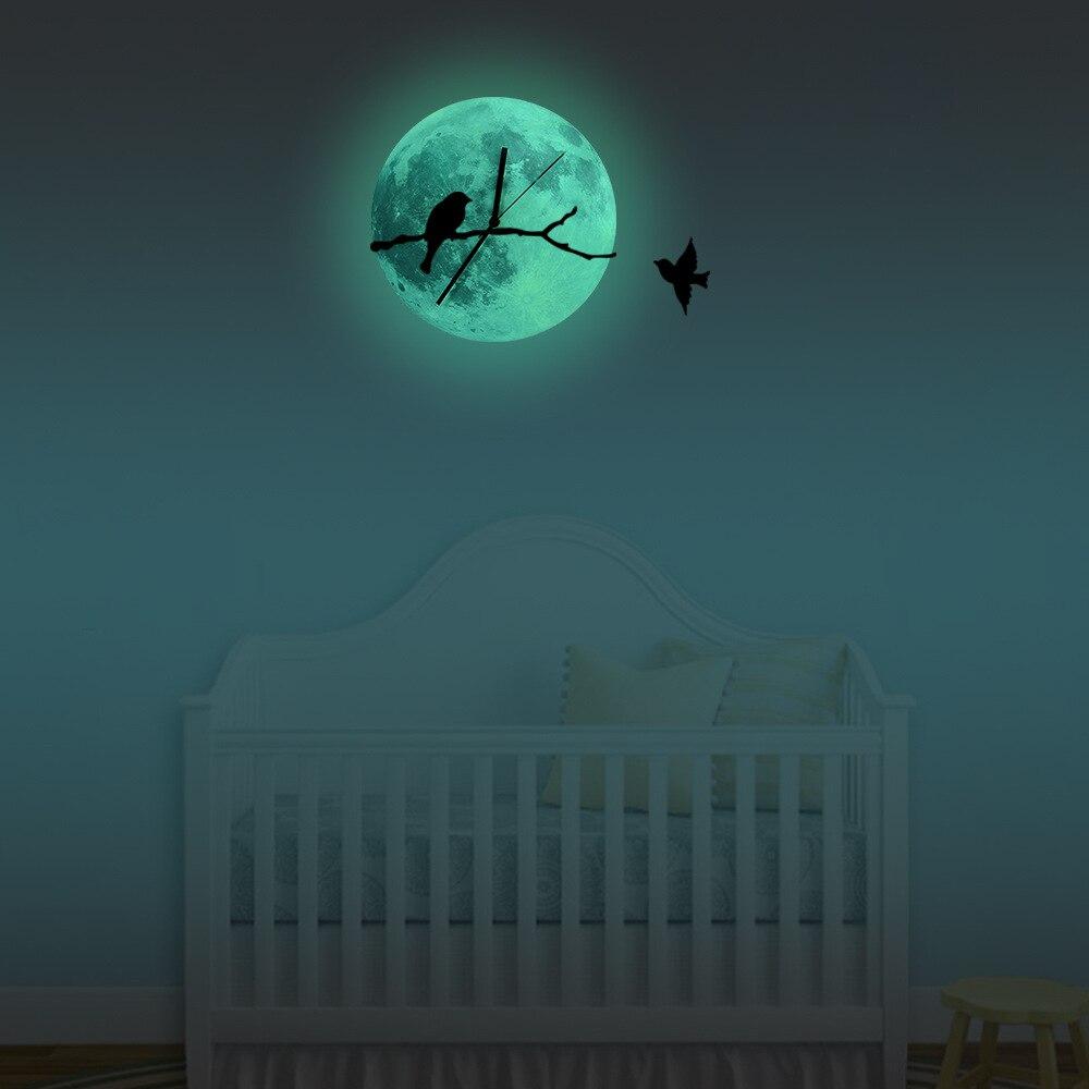 Funlife птица на ветвях светящиеся Луна настенные часы, светятся в темноте домашнего декора, кварц развертки тишины для Гостиная, 30cm12''