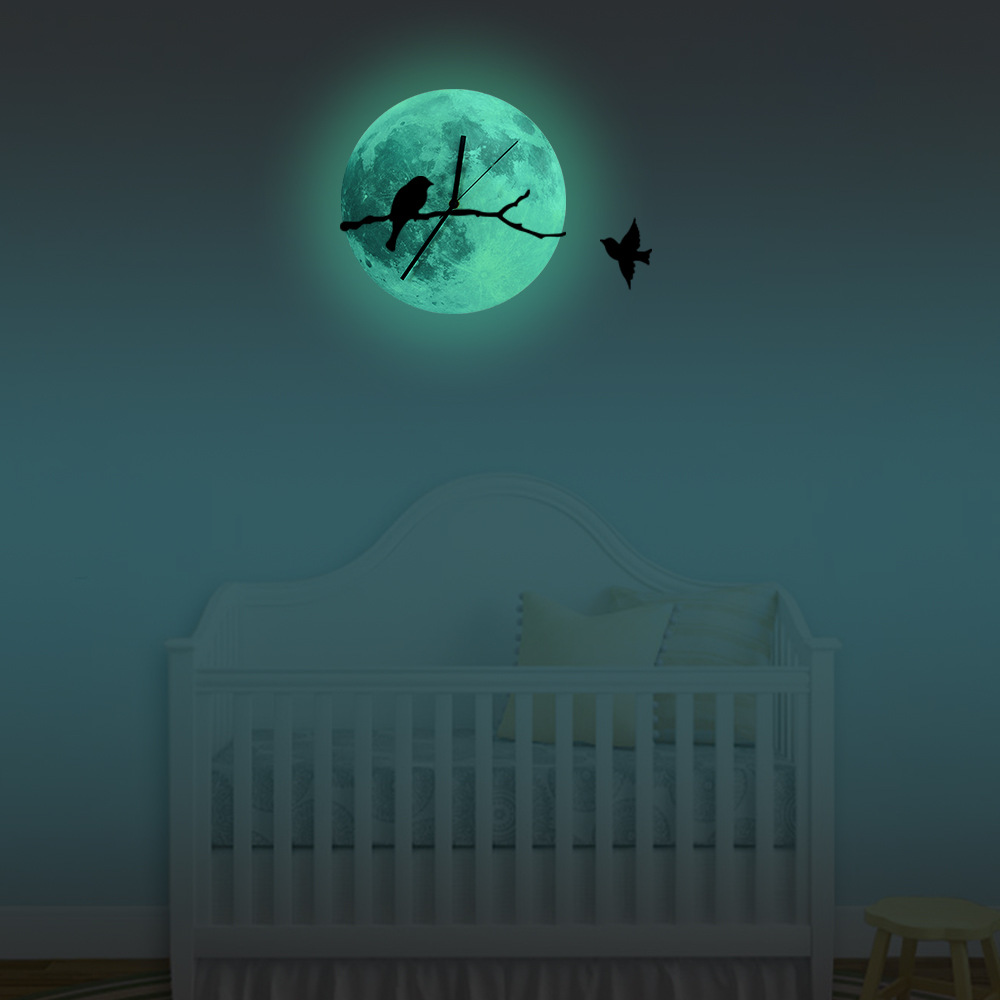 Funlife Bird On The Branches Glowing Moon Wall Clock Glow