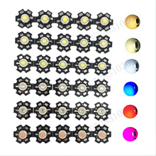 10PCS 3W High Power Chip White Red Blue Green Light Full Spectrum Plant Bead Emitter LED Bulb Diode and 20mm Star PCB Flat Plate