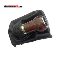 4F0863278P Black PU Leather Boot Wood 6 Speed Gear Shift Knob Gaiter MT For Audi A6 C6 S6 Allroad 2005 2011