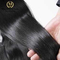 """Mayflower 100% Необработанные индийские прямые натуральные волосы шелковистый блеск натуральный цвет полностью 100 г один пучок от 12 """"-28"""" в наличии"""
