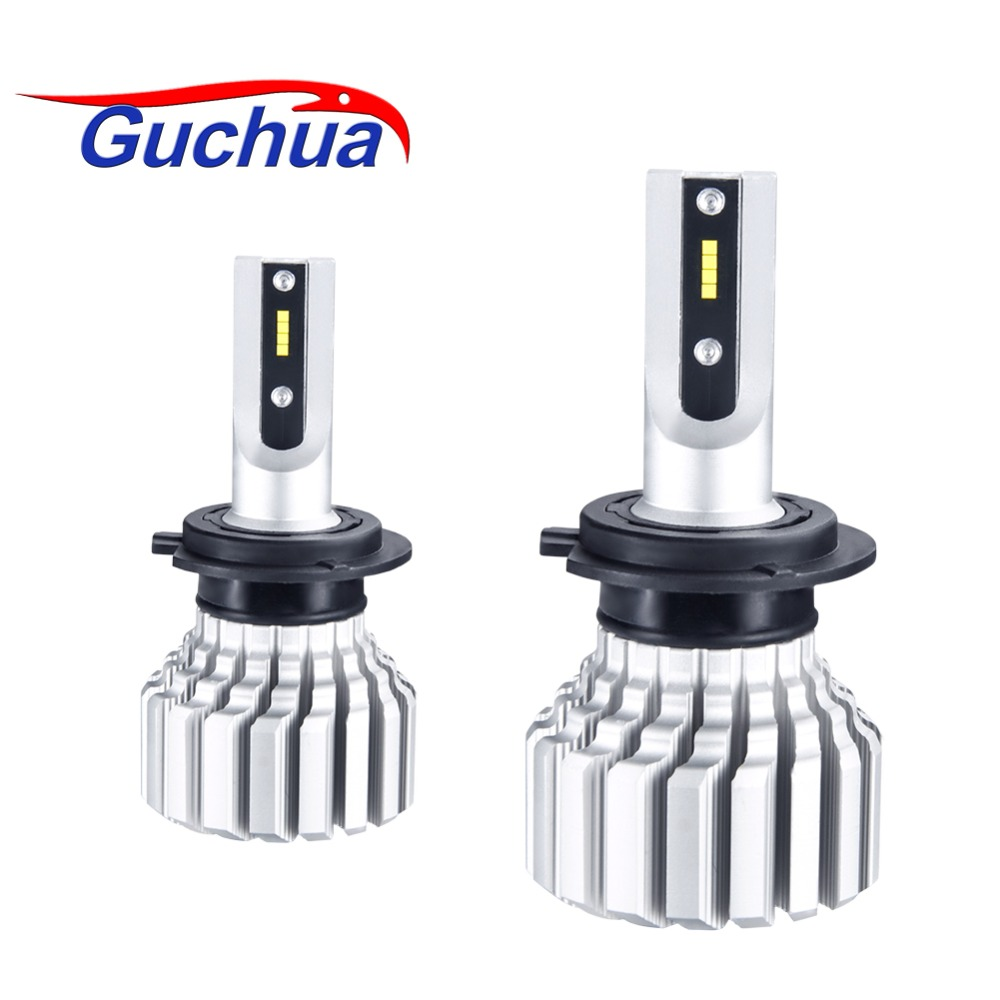 Guchua 12V LED H4 Headlight Fanless H15 Led Bulb 9004 9007 Far and Near Light Hi-low Beam CSP Auto Car Lamp 6500K 72W 10000LM ironwalls 2pcs set car headlight cree csp chips 72w hi low beam led driving light auto front fog light for audi toyota honda