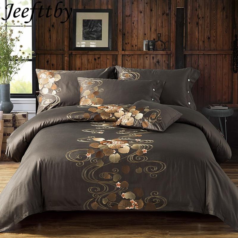 Bedding-Set Pillowcases Duvet-Cover Embroidery Silk King Queen-Size Cotton 100%Egyptian