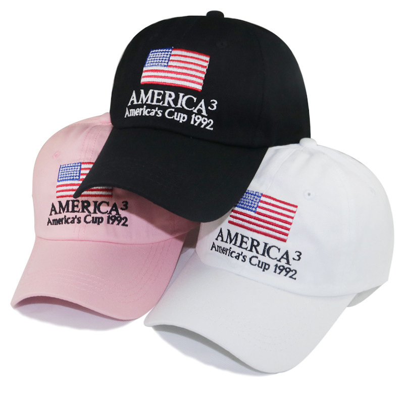America's Cup 1992 baseball cap US flag embroidery dad hat adjustable cotton snapback hats unisex curved casual caps wholesale