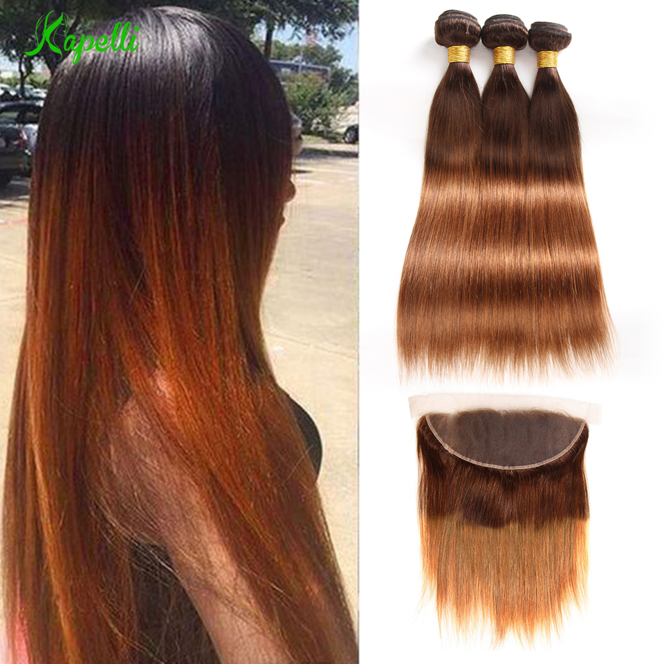 Ombre Bundles With Frontal Pre-plucked T4/30 2 Tone Remy Blonde Malaysian Straight Human Hair Bundles With Frontal Free Ship