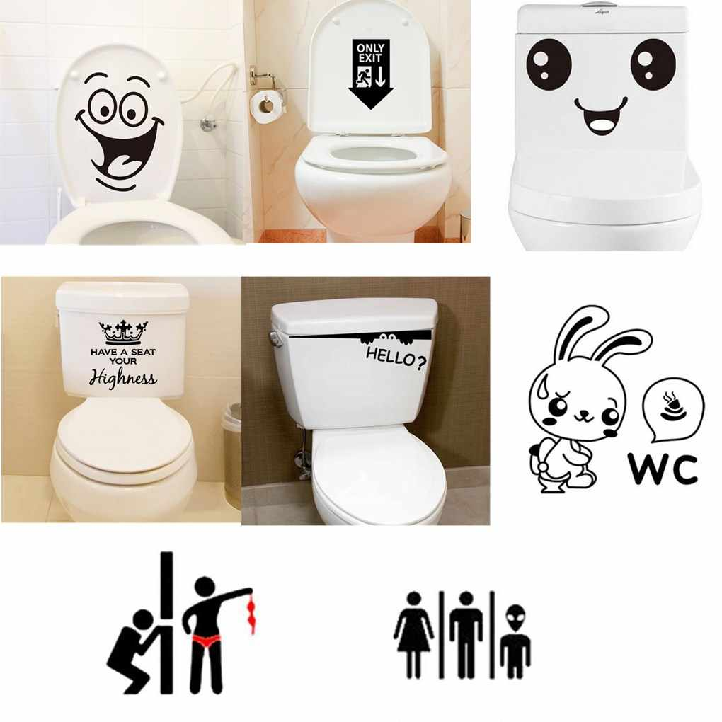Wall Stickers Removable PVC Cute Cartoon Smile Face Poster Washroom Door Toilet Funny WC Sticker Family DIY Decor Home Wallpaper