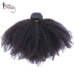 Mongolian Afro Kinky Curly Weave Human Hair Extensions 4B 4C Hair 1 Bundle Only Natural Black 10-24inch Non Remy Ever Beauty