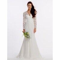 LAN TING BRAUT Mantel Spalte Hochzeit Kleid Voll V-ausschnitt Sweep Pinsel Zug Spitze Brautkleid mit Chic Moderne Criss-kreuz