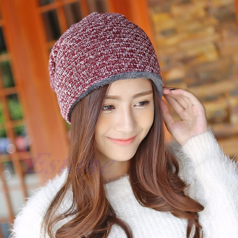 Unisex Women's Men's Knit Winter Warm Crochet Slouch Hat Cap Beanie Oversized 5 Colors- O123 hot winter beanie knit crochet ski hat plicate baggy oversized slouch unisex cap