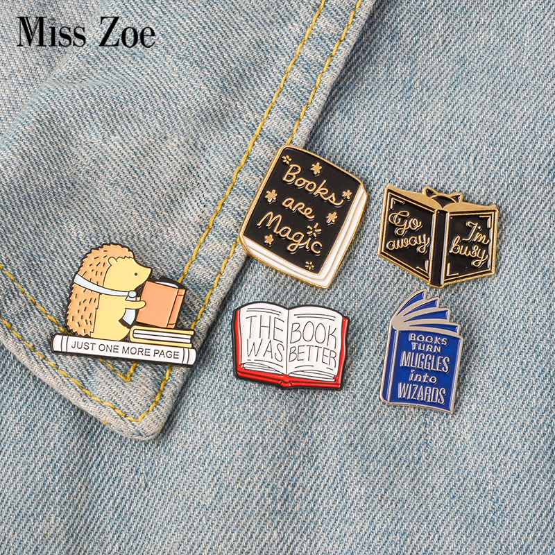Cartoon Book Brooch Badges Read Lapel Pins Funny Jewelry Book Brooches Backpack Bag Accessories Special Buy Apparel Sewing & Fabric