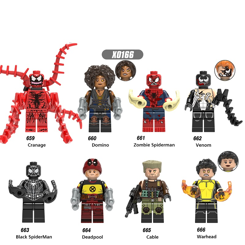 Single Sale Super Heroes Deadpool Cable Venom Carnage Warhead Spiderman Building Blocks Toys Gifts Model For Children